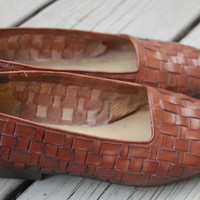 Vintage 80s Buskens Brown Preppy Woven Slip On Loafers Shoes Like Trotters Size 6.5