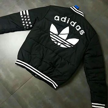 ADIDAS Fashion Women Men Casual Print Round Collar Cardigan Jacket Couple Coat Windbreaker I-A001-MYYD