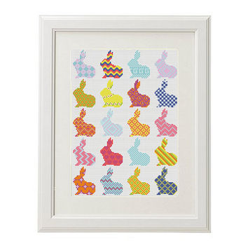 Bunny Cross stitch pattern baby counted cross stitch nursery modern embroidery  pattern Folk art rabbit  crossstitch easy shower gift
