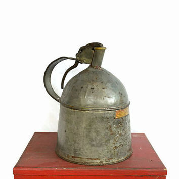 Vintage Metal Gas Can, Justrite Gas Can, Rustic Industrial Metal Can, Collectible Can, Farm Equipment,  Auto Memorabilia, Gift for Him