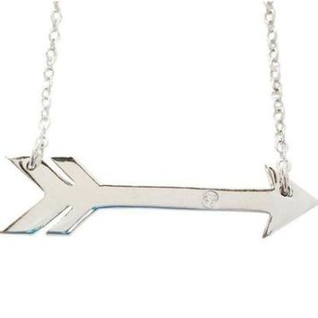 Rhodium Plated Sideways Arrow Necklace