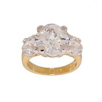 Unique Fancy Cut Three Stone Two Tone Cocktail Ring in All Clear Cubic Zirconia