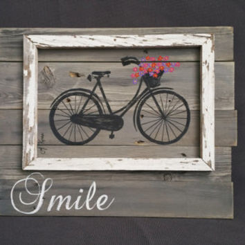 Bright Hand painted Daisies of antique bike, Wall art, barn wood, Distressed  Reclaimed Wood Pallet Art, Rustic and Shabby Chic Summer porch