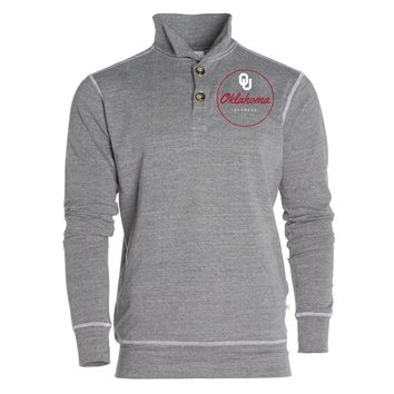 Official NCAA University of Oklahoma Sooners OU Boomer Sooner Women's Boyfriend Fit Triblend 1/4 Button Pullover Full Sleeve O-Neck Durable Premium Sweatshirt