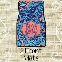 Custom Personalized Set of Car Floor Mats - Front set, Monogrammed Car Mats, Paisley, LP Inspired Turquoise, Navy, & Coral