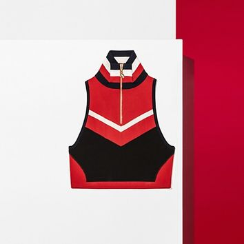 CROPPED SLEEVELESS ZIP TRACK TOP | Tommy Hilfiger