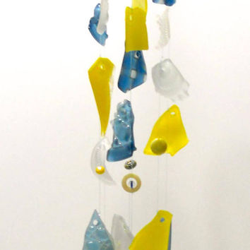 Glass wind chime, tumbled and stained glass mobile gift, mobile wind chime w/ tumbled glass, Lampwork glass beads, sun catcher, holiday gift