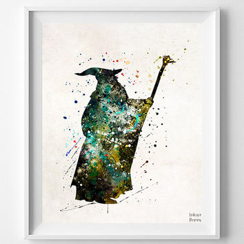 Gandalf Print, Lord of the Rings, Watercolor Art, LOTR, Ganfalf Poster, Lord of the Rings Gift, Room Decor, Wall Art, Fathers Day Gift