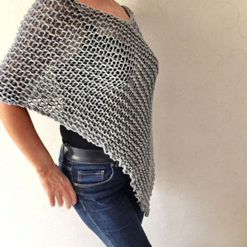 Knit poncho sweater, gray alpaca poncho, christmas gift, womens wear, fall knitwear, soft and cozy winter poncho, shrug, shawl