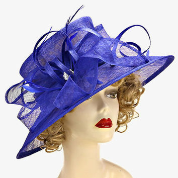 Church Kentucky Derby Wedding Sinamay Dress Hat Feather Crystal Bow Royal Blue