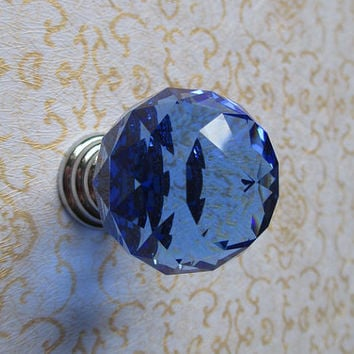 Sparkly Glass Knob Diamond Cut Blue / Cottage Chic Modern Furniture Crystal Knobs Pull / Cupboard Dresser Cabinet Drawer Handles