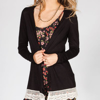 H.I.P. Lace Trim Womens Hachi Knit Cardigan Black  In Sizes