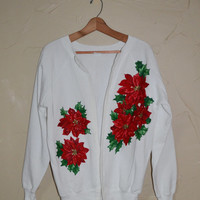 Vintage Sweater Cardigan Sweater Christmas Sweatshirt Ugly Christmas Sweater Holiday Red White and Green Poinsettia Flowers Size Large