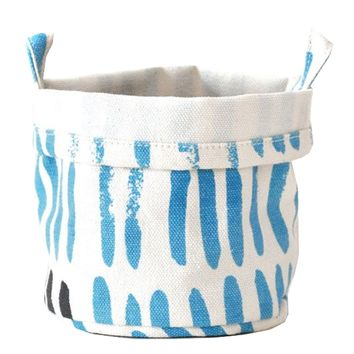 Vertical Strokes Recycled Canvas Bucket (Sky)