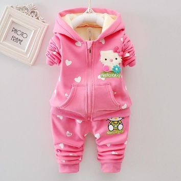 Hello Kitty Winter Baby Girls Clothing Sets Warm Velvet Thicken Hooded Jacket Sweatshirts + Print Pants 2PCS Baby girl clothes