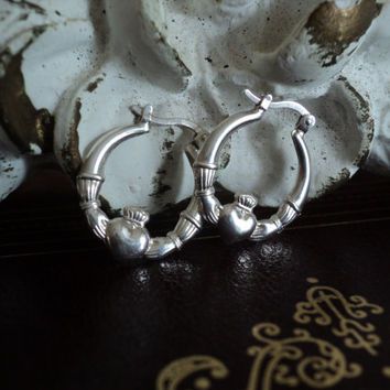 Sterling Silver Claddagh Earrings Symbolizing Friendship Love and Loyalty 925nv 1980's Jewelry Valentine's Day Gift for Her