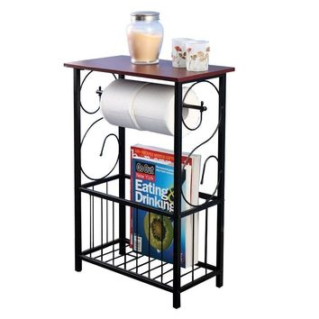 Shelves Table Bathroom Organizer Rack Holder Paper Toilet Storage Magazine Home