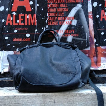 c49bb062ad Black leather tote bag - oversized slouchy tote