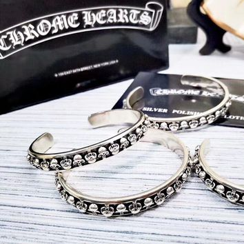 Chrome Hearts New Fashion High Quality Opening Personality Bracelet Women Silver