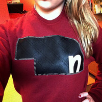 Leather crew neck (Alternative shirt colors available)