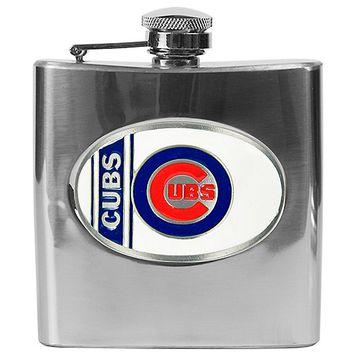 Chicago Cubs Stainless Steel Hip Flask (Silver)