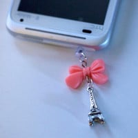 Kawaii MIni Eiffel Tower with Pink Ribbon by fingerfooddelight