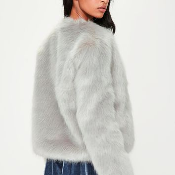Missguided - Grey Collarless Faux Fur Coat