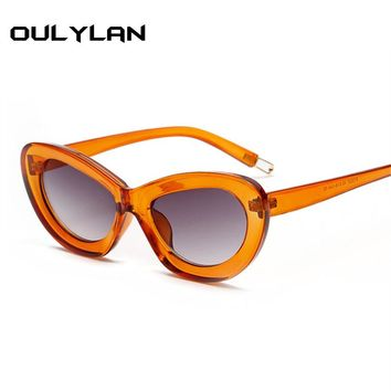 Oulylan Cat Eye Candy color Sunglasses Women Clear Frame Vintage Brand Designer High Quality fashion Cateye Sun Glasses UV400