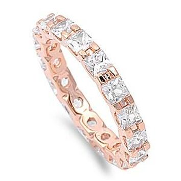 14K Rose Gold 1.8TCW Princess Cut Russian Lab Diamond Wedding Band Full Eternity Ring