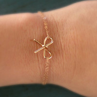 Rose Gold Bow Bracelet Simple Minimalist Jewelry bridesmaid jewelry Tie the Knot gift