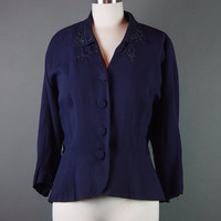 50s Navy Blue Rayon Crepe Jacket Vintage 1950s Beaded Roselli