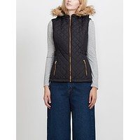 Quilted Puffer Jacket Vest with Detachable Hoodie