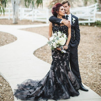 Bridal Wedding Dress Black Tulle Mermaid Lace Court Train Zwarte Trouwjurk Gowns Sheer Appliqued Sexy Vestido De Noiva