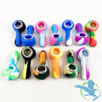 Silicone Pipe With Glass Bowl - 3 Inches (MSRP $7.00)