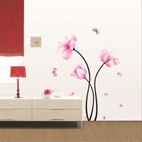 Ambiance Pink Flowers & Butterflies Home Decor Sticker - Decorative Wall Stickers by Ambiance - Modnique.com
