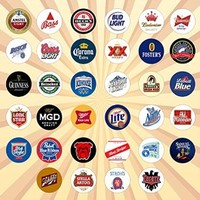Beer Logos Set of 34 - 1 Inch Pinback Buttons