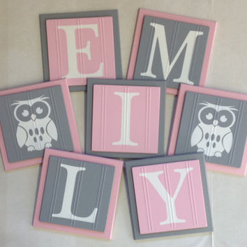 Baby Nursery Name Wood Wall Letter Tiles To Hang Above Crib 6 X Pink