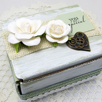 Romantic Gift Box - Small Decorative Box - Ivory and Green Gift Box - Keepsake Box - Rustic Style - Steampunk Box - Gift Card Holder