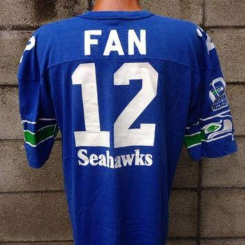 PEAPYD9 Seattle Seahawks Shirt Vintage Jersey 12th Man Fan 12 1980s NFL Tee Large