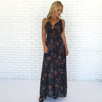 Vibe Floral Maxi Dress in Navy Blue