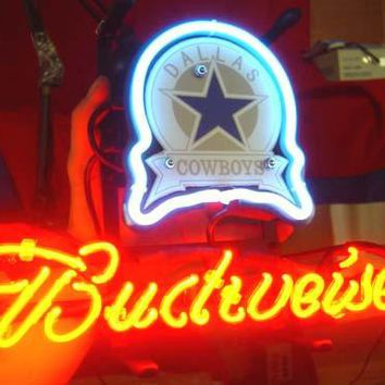 "Dallas Cowboys Budweiser Emblem 17"" x 14"" Neon/LED-Lighted Pub Sign"