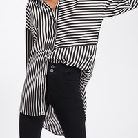 Dolphin Hem Mixed Stripe Shirt -SheIn(Sheinside)