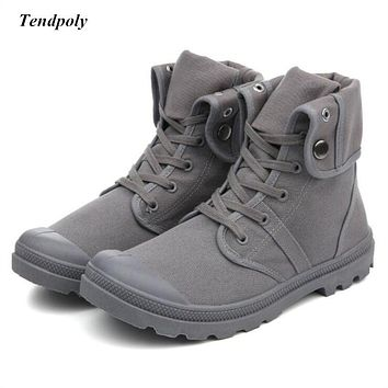 Classic retro men's boots new Spring autumn non-slip breathable middle canvas shoes outdoor casual shoes fashion hot wild boots