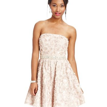 As U Wish Juniors Dress, Strapless Rosette Beaded A-Line - Juniors Homecoming Dresses - Macy's