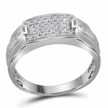 10kt White Gold Mens Round Pave-set Diamond Rectangle Cluster Ring 1-3 Cttw - FREE Shipping (US/CAN)