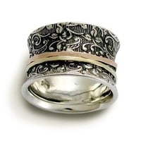 Spinner ring  Sterling silver with rose and yellow by artisanlook