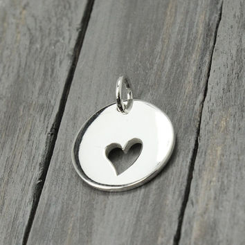 Sterling Heart Charm, Sterling Silver Heart , Silver Heart Charm, Jewelry Supplies, Sterling Charms, Sterling Silver Charms, Necklace Charms