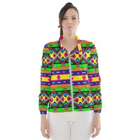 Distorted Colorful Shapes And Stripes Wind Breaker (women) Windbreaker (Women)