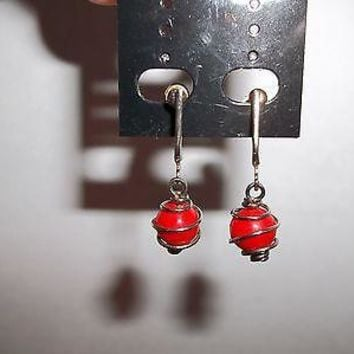 Vintage Circa 1930's  Wire Wrapped Red Glass Ball  Screw Back Dangle Earrings