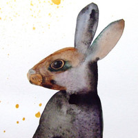 Rabbit Original Watercolor Painting Animal Home Decor Hare Watercolor Drawing Contemporary Art Brown Grey Rabbit Watercolor